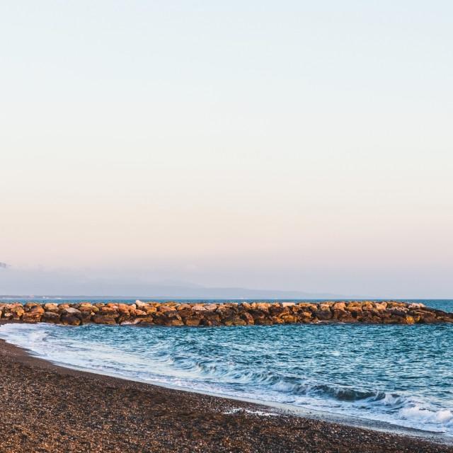 """Empty send beach near the Mediterranean sea"" stock image"