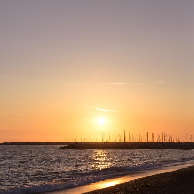 """Dusk over Mediterranean sea with nice sun"" stock image"