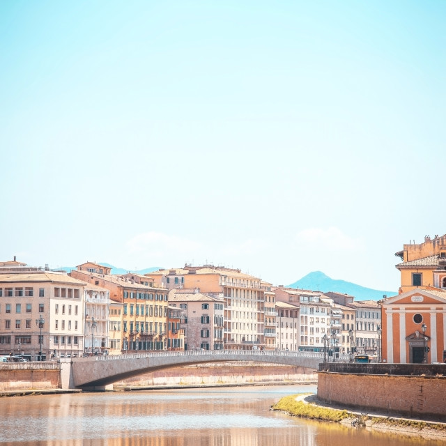 """""""View over river Arno in Tuscany town Pisa"""" stock image"""