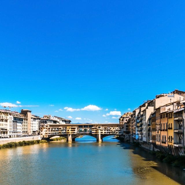 """View over Arno rive on Ponte Vecchio"" stock image"