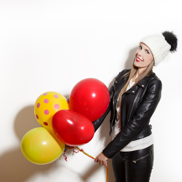 """""""winter girl with balloons"""" stock image"""