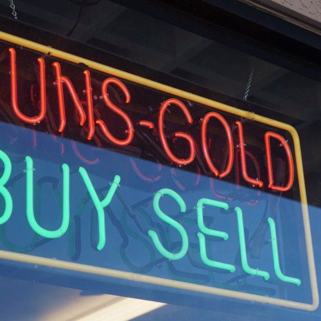 """Guns Gold Buy Sell"" stock image"