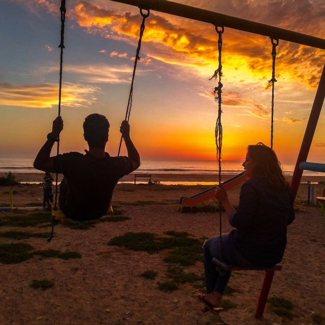 """SUNSET SWING"" stock image"