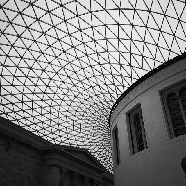 """The geometric roof at the British Museum"" stock image"