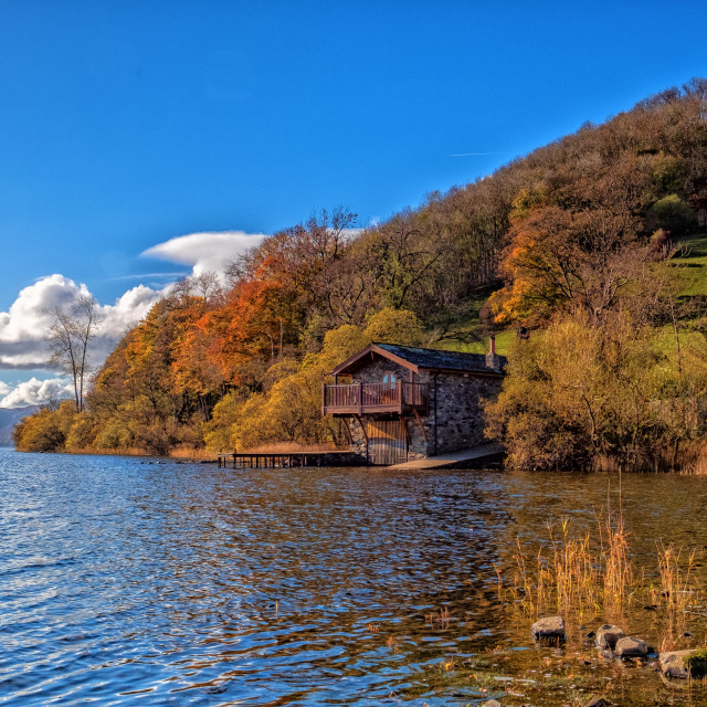"""Ullswater Boathouse."" stock image"