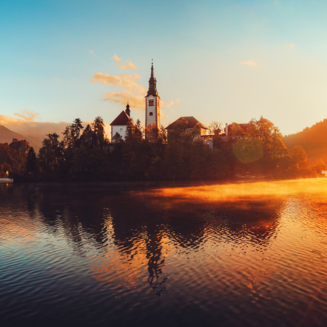 """""""Aerial view of church of Assumption in Lake Bled, Slovenia"""" stock image"""