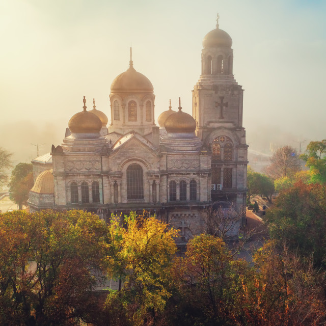 """""""The Cathedral of the Assumption by the autumn in Varna"""" stock image"""