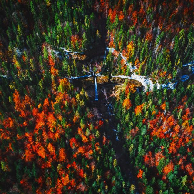 """Pericnik waterfall in Slovenian Alps in autumn"" stock image"
