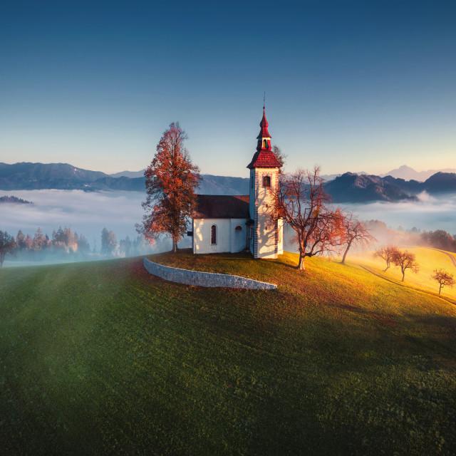 """Aerial view of Saint Tomas church, Slovenia."" stock image"