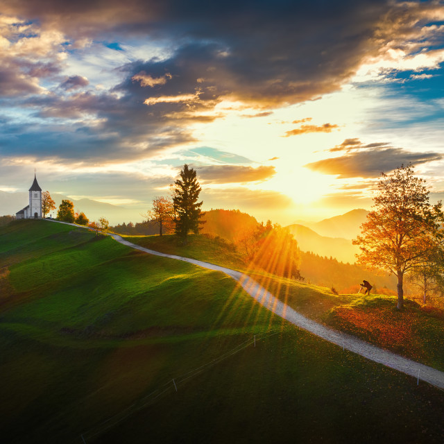 """Jamnik, Slovenia - Aerial view over the church of St. Primoz in"" stock image"