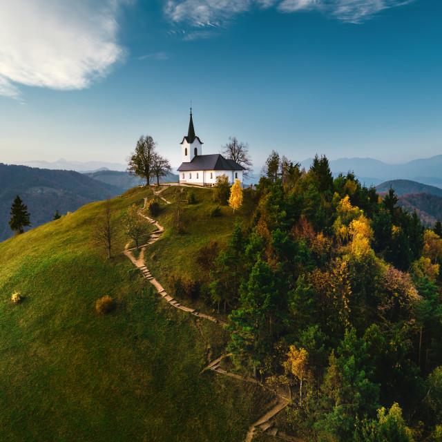 """St. Jacob church near Medvode , aerial view. Sv. Jakob - Sloveni"" stock image"
