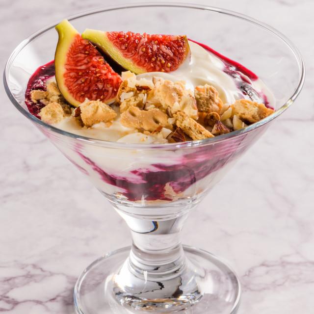 """Figs pudding parfait with yogurt"" stock image"