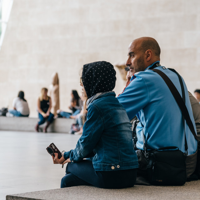 """""""Unidentified tourists are resting at Metropolitan Museum"""" stock image"""