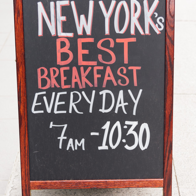 """Menu board advertising best breakfast in New York"" stock image"