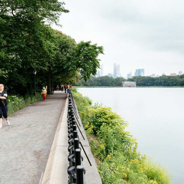 """""""People running by Central Park in New York"""" stock image"""