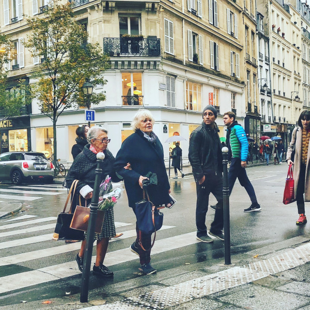 """Paris street scene - Autumn in the Marais"" stock image"