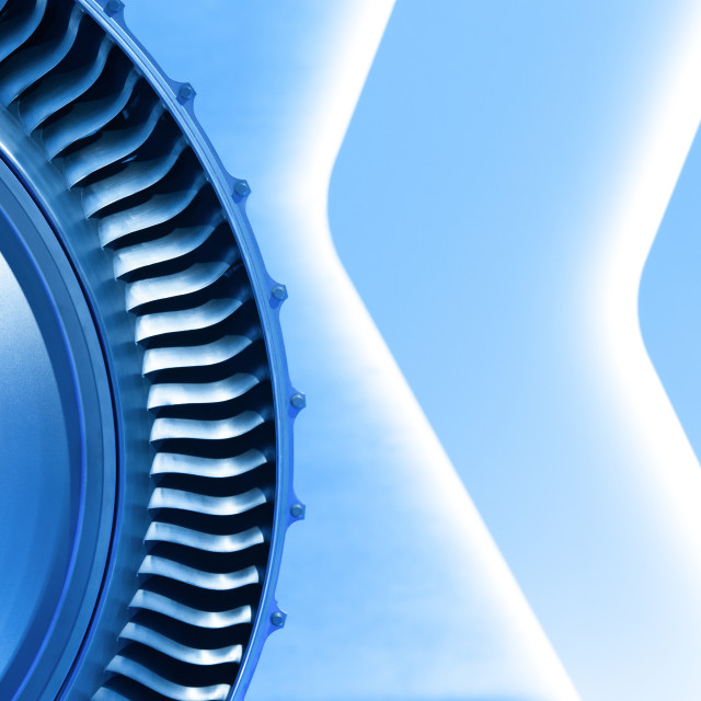 """vivid blue toned jet engine"" stock image"