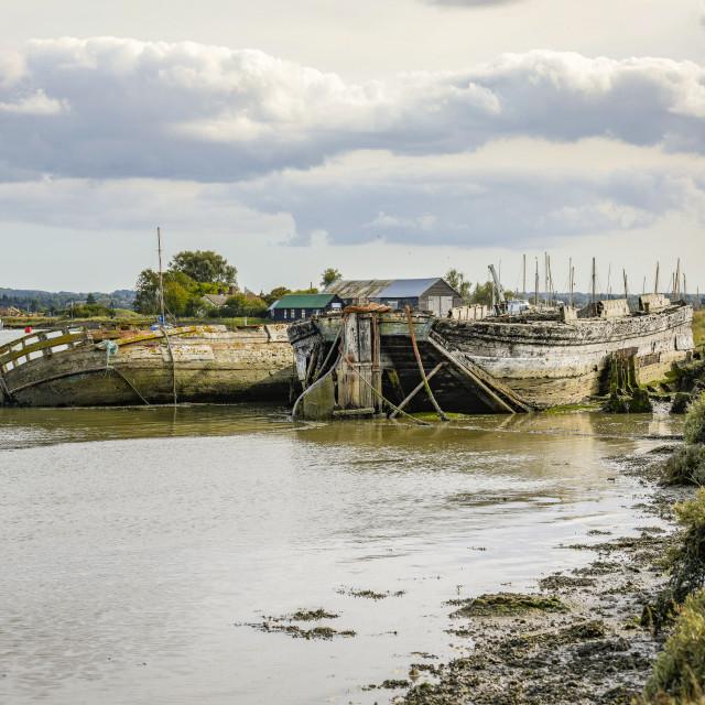 """Boat wrecks at Oare Creek"" stock image"