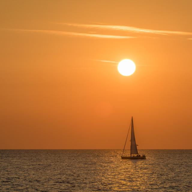 """Sailing sunrise Broadstairs"" stock image"