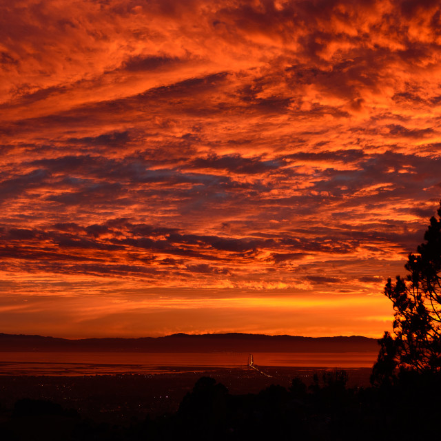 """Sunset looking across San Francisco bay with San Mateo brdge"" stock image"