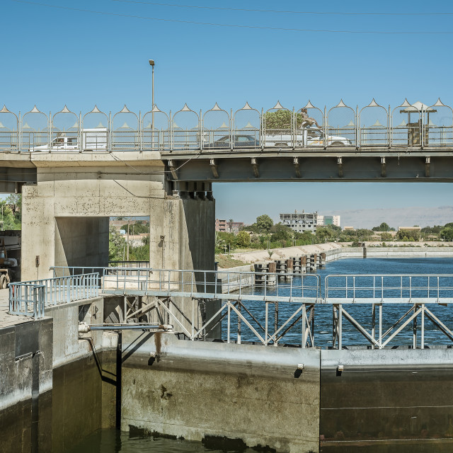 """""""The floodgate at Esna in the river Nile is opening"""" stock image"""