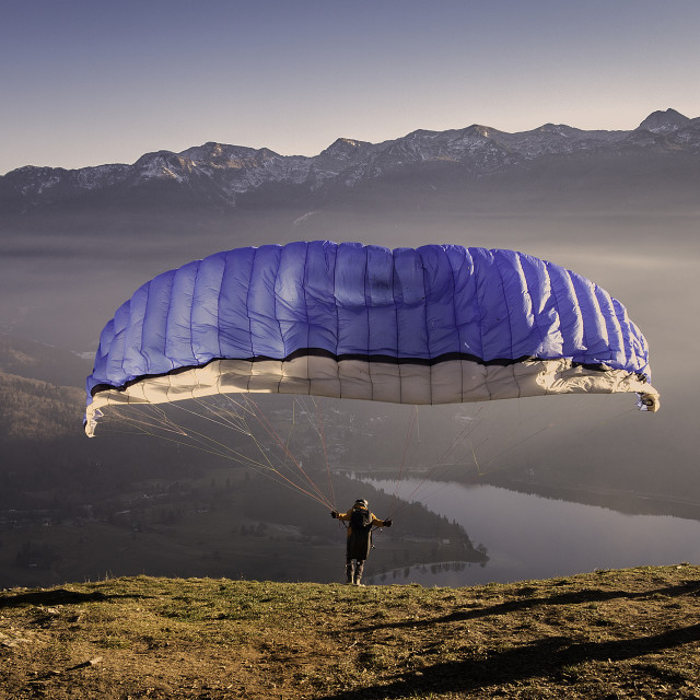 """Paraglider in Bohinj - Slovenia"" stock image"