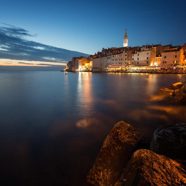 """Stunning sunset with colorful sky,Rovinj,Istria region,Croatia,Europe"" stock image"