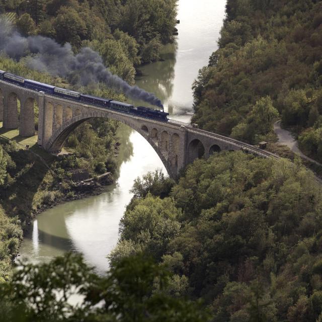 """Old steam train on the Solkan bridge Slovenia"" stock image"