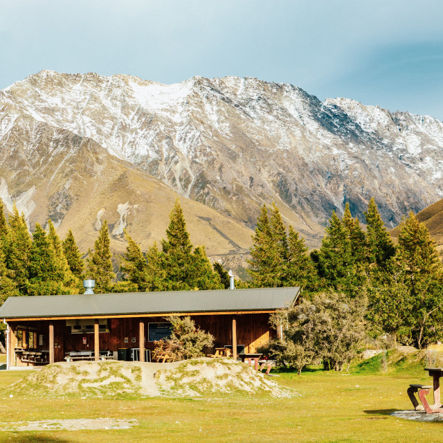 """Alpine hut on Hooker Valley Track in Mount Cook National Park"" stock image"