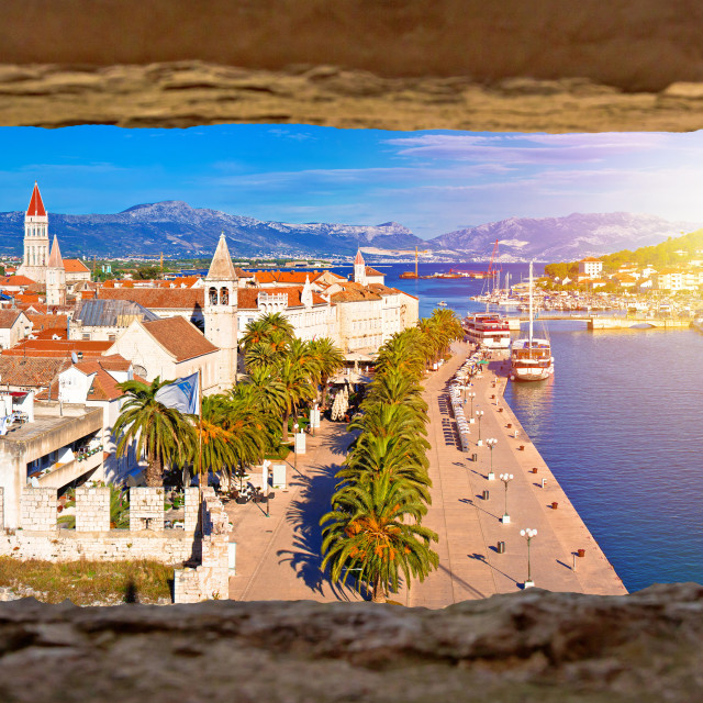 """""""Town of Trogir waterfront and landmarks panoramic view"""" stock image"""
