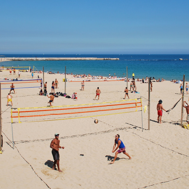"""Beach volley ball, Barcelona"" stock image"