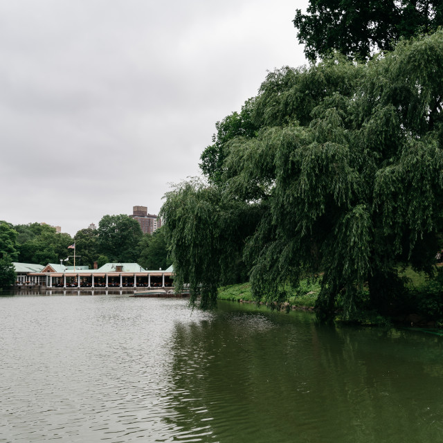 """""""Loeb Boathouse and Lake in Central Park a cloudy day"""" stock image"""