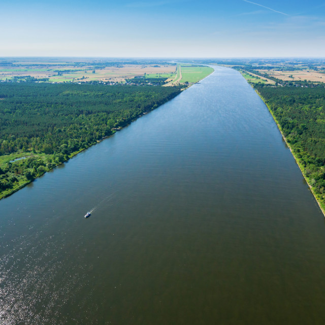 """""""Aerial view of the Vistula river near its mouth to the Baltic sea"""" stock image"""