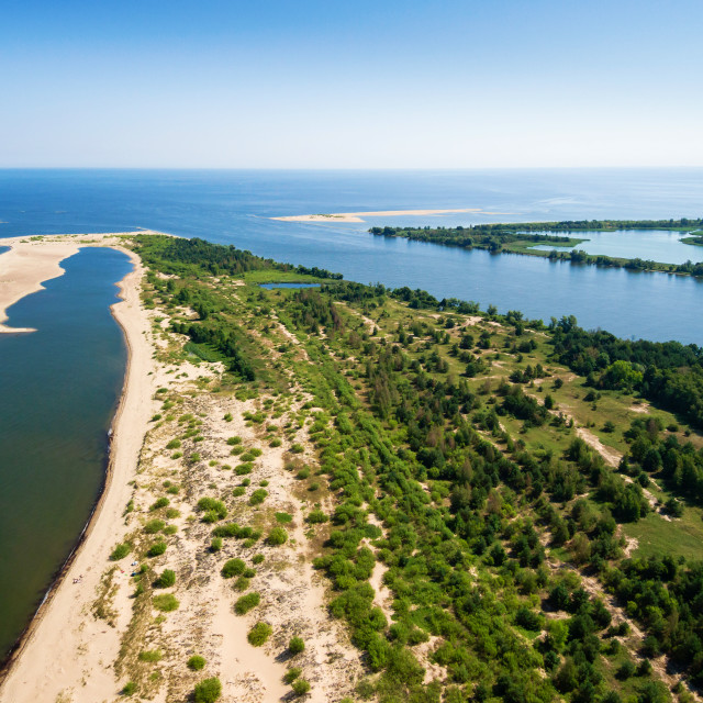 """""""Aerial view of Gull Swan and the Vistula river mouth to the Baltic sea"""" stock image"""