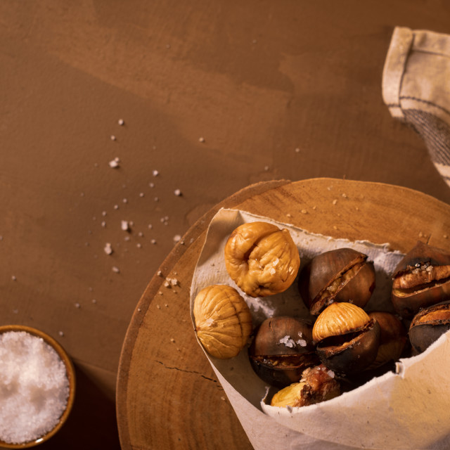 """""""Roasted chestnuts in a paper cone"""" stock image"""