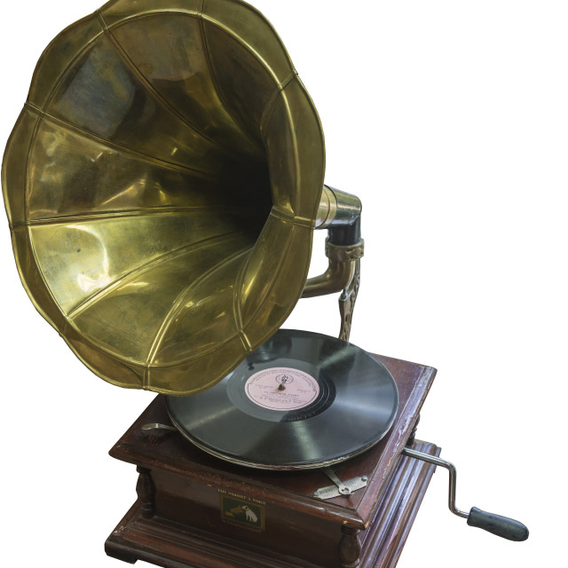 """""""A vintage gramophone made in the USA, 1903 with a record."""" stock image"""