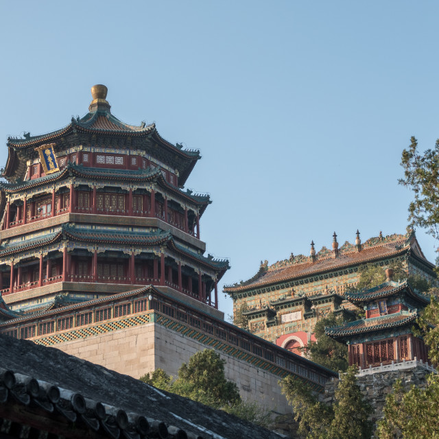 """Ornate roof at Summer Palace outside Beijing, China"" stock image"