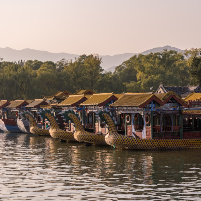 """Tour boats at Summer Palace outside Beijing, China"" stock image"