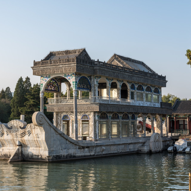 """Marble boat at Summer Palace outside Beijing, China"" stock image"