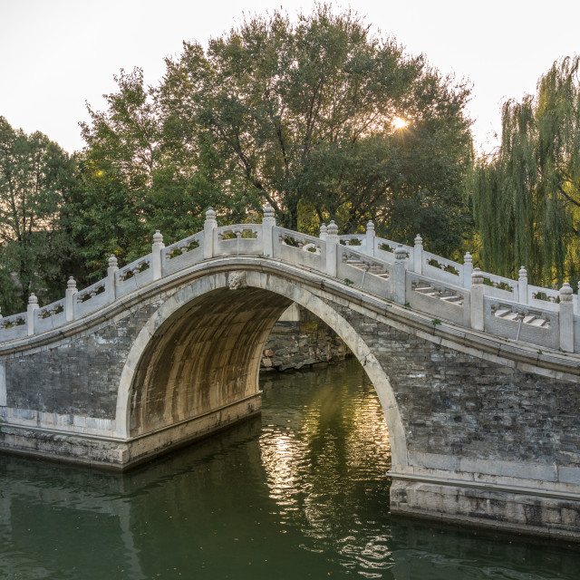 """Arched bridge at Summer Palace outside Beijing, China"" stock image"