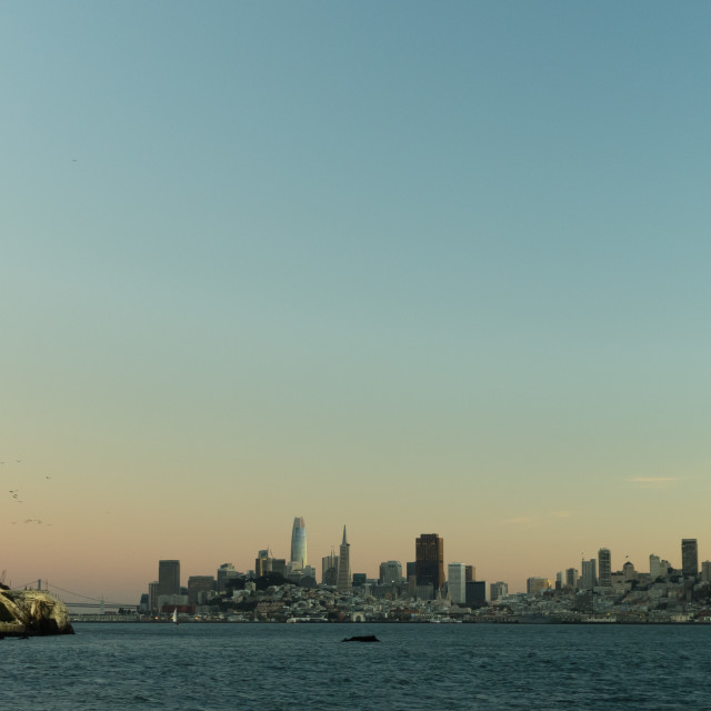 """Alcatraz and San Francisco at dusk"" stock image"