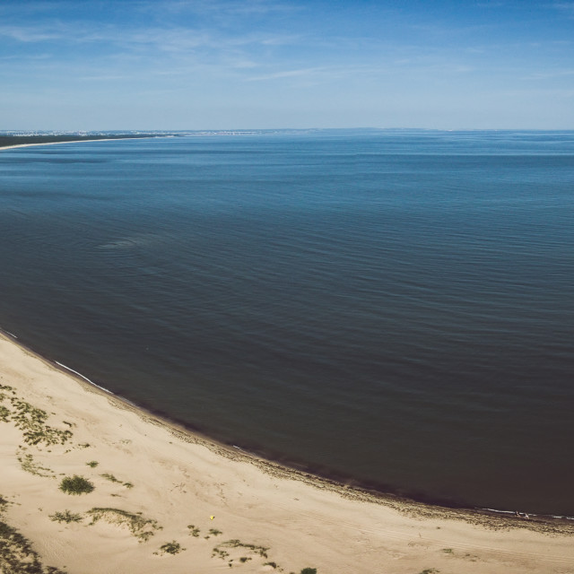 """""""Aerial view of beach by the blue sea"""" stock image"""