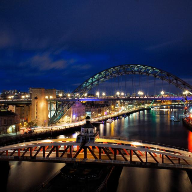 """River Tyne at night"" stock image"