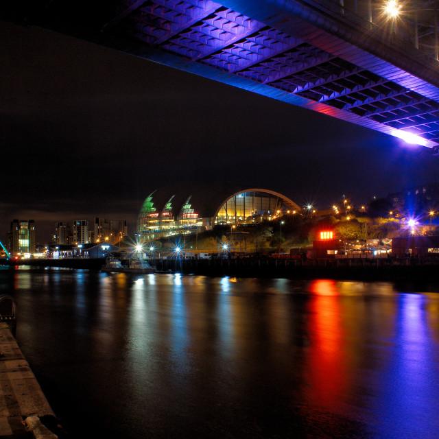 """Gateshead Sage at night"" stock image"