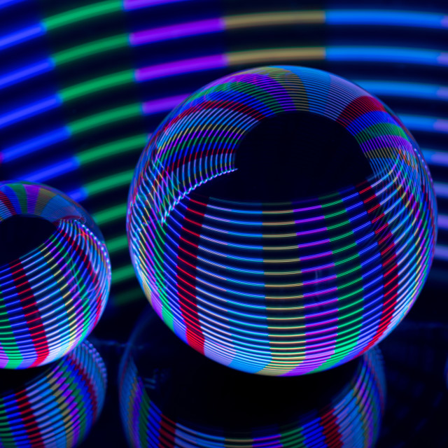 """Spiral Lights in the crystal ball"" stock image"