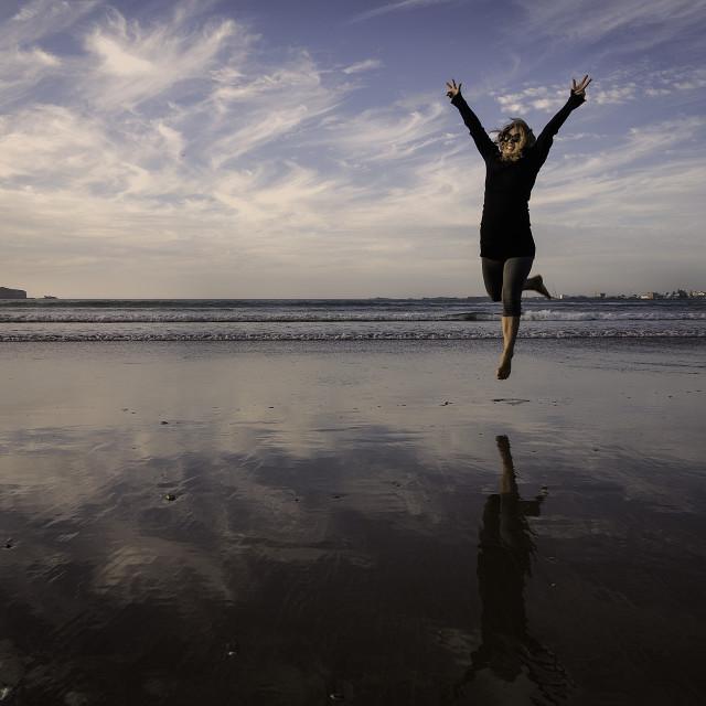 """Jump of joy"" stock image"