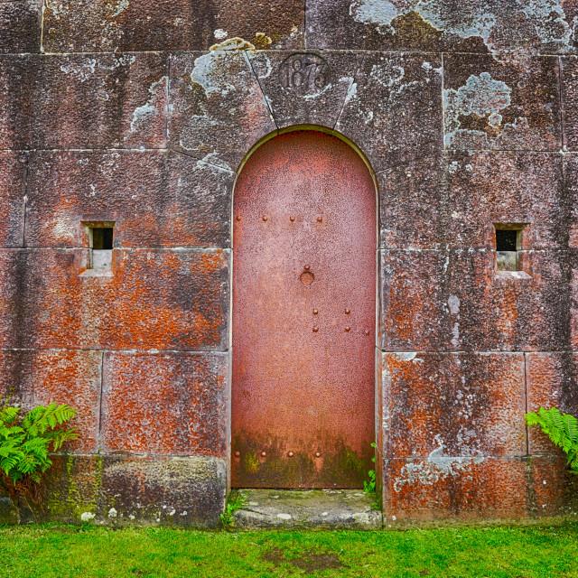 """""""Red Cellar Door In Landscape"""" stock image"""