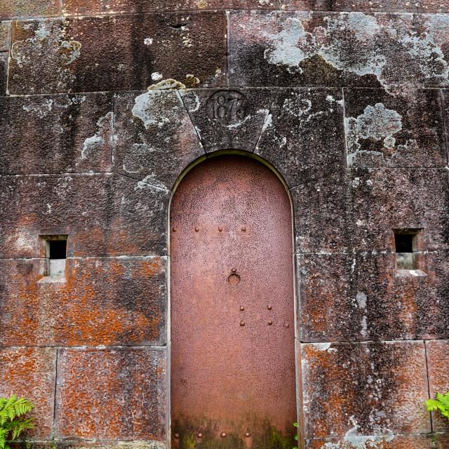 """""""Red Cellar Door"""" stock image"""