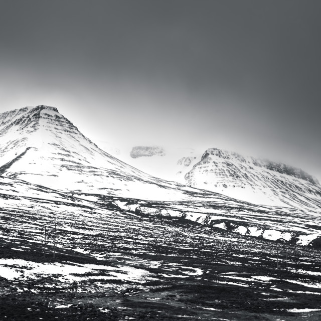 """""""iceland - snow capped mountain - varmahlid"""" stock image"""