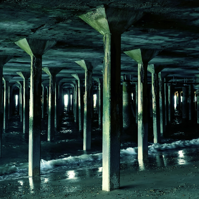 """Concrete Piles Under Clacton Pier"" stock image"